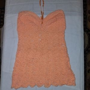 Women's peach beaded crop-top size M-L
